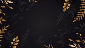 Flor de oro en fondo negro Hoja de oro Folleto floral, tarjeta, vector de la cubierta stock de ilustración