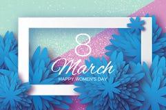 Flor de papel azul Dia do `s das mulheres 8 de março Quadro do retângulo Fotografia de Stock