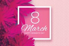 Flor de papel cor-de-rosa magenta Dia do `s das mulheres 8 de março quadrado ilustração do vetor