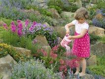 Flor de riego de la muchacha linda en el jardín Imágenes de archivo libres de regalías