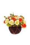 Flor de Rosa na cesta Fotos de Stock Royalty Free
