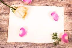 Flor de Rosa no livro de nota Fotos de Stock