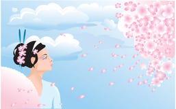 Flor de Sakura y muchacha japonesa ilustración del vector