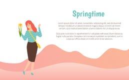 Flor de sorriso da terra arrendada da mulher, vetor da primavera ilustração royalty free