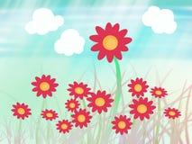 Flor de Sun con la hierba Imagenes de archivo