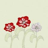 Flor de três papoilas com o efeito de pinturas de óleo Fotografia de Stock Royalty Free