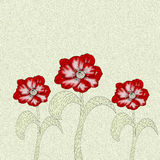 Flor de três papoilas com o efeito de pinturas de óleo Imagens de Stock Royalty Free