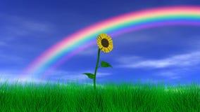 Flor debajo de un arco iris ilustración del vector