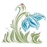 Flor decorativa con una mariquita Imagen de archivo