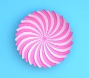 Flor decorativa da única cor no fundo azul Origâmi de papel Fotografia de Stock Royalty Free