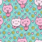 Flor del amor de la historieta del gato libre illustration