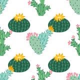 Flor del cacto Cactus brillantes, hojas del ?loe, historieta tropical de la flora de los cactus de las plantas del desierto sucul stock de ilustración