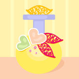 Flor del corazón del amarillo de la botella de perfume de la fragancia Imagenes de archivo