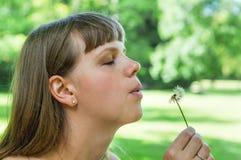 Flor del diente de león de la mujer que sopla joven Fotografía de archivo