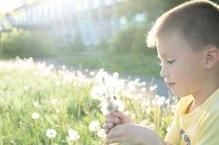 Flor del diente de león del perfil del niño pequeño que sopla en el verano Niño sonriente feliz que disfruta de la naturaleza en  Foto de archivo libre de regalías