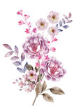 Flor del ejemplo de la acuarela en fondo simple Fotografía de archivo libre de regalías