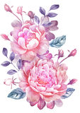 Flor del ejemplo de la acuarela en fondo simple Fotografía de archivo