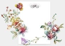 Flor del ejemplo de la acuarela en fondo simple Imagen de archivo