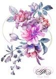 Flor del ejemplo de la acuarela en fondo simple Imagenes de archivo