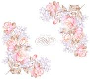 Flor del ejemplo de la acuarela en fondo simple Imágenes de archivo libres de regalías
