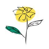 Flor del garabato del amarillo del bosquejo Fotografía de archivo