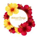 Flor del hibisco del vector Tarjeta _1 de la invitación Fotografía de archivo libre de regalías
