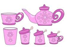 Flor del juego de té Foto de archivo libre de regalías