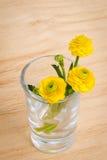 Flor del resorte Flor de la primavera del ramo en vidrio en un fondo de madera de la tabla Tarjeta con las flores del resorte imagenes de archivo
