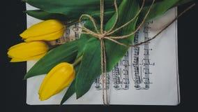 Flor del tulipán en una hoja de viejas notas musicales sobre el fondo del dlack fotografía de archivo libre de regalías