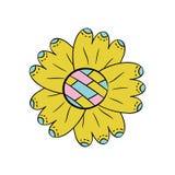 Flor del vector en el fondo blanco en la mano escandinava del estilo dibujada Objeto aislado stock de ilustración