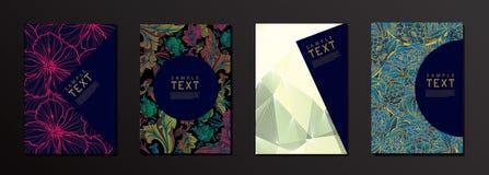 Flor del vector y plantilla geométrica del diseño de la cubierta de la forma libre illustration