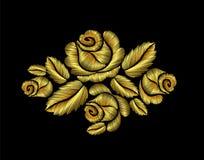 Flor dibujada mano de oro del oro del ejemplo de la moda del bordado de las rosas Imágenes de archivo libres de regalías