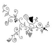 Flor dibujada mano negra del vector Foto de archivo libre de regalías
