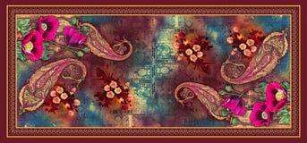 Flor digital abstracta incons?til del tulip?n del fondo con Paisley hermosa stock de ilustración