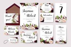 A flor do convite do casamento convida o projeto de cartão com pêssego do jardim ilustração do vetor