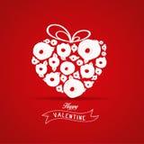 A flor do coração do presente dos Valentim aumentou Foto de Stock