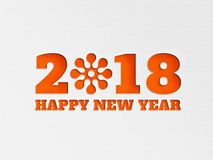 A flor 2018 do fundo da bandeira do papel de parede do ano novo feliz com papel cortou o efeito na cor do oranage ilustração do vetor