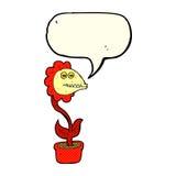 flor do monstro dos desenhos animados com bolha do discurso Imagens de Stock