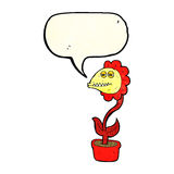 flor do monstro dos desenhos animados com bolha do discurso Fotos de Stock
