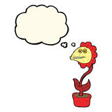 flor do monstro dos desenhos animados com bolha do pensamento Imagem de Stock Royalty Free