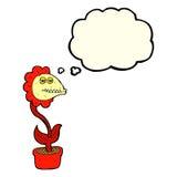 flor do monstro dos desenhos animados com bolha do pensamento Imagens de Stock