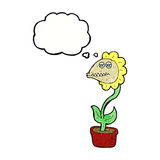flor do monstro dos desenhos animados com bolha do pensamento Imagens de Stock Royalty Free