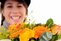 Flor do ramalhete da mulher nova Fotos de Stock