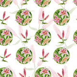 Flor do teste padrão com lírios Imagens de Stock Royalty Free