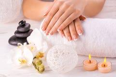 Flor do tratamento de mãos francês e da orquídea do wnite Fotos de Stock