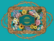 Flor do vintage do vetor & projeto dourado do quadro Fotos de Stock