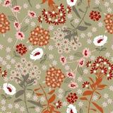 Flor do vintage e folha de florescência densas geométricas na obscuridade, co Imagens de Stock Royalty Free
