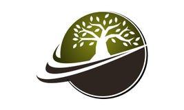 Flor e árvore Logo Design Template ilustração stock