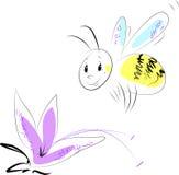 Flor e abelha Ilustração do Vetor