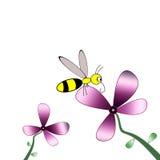 Flor e abelha ilustração stock